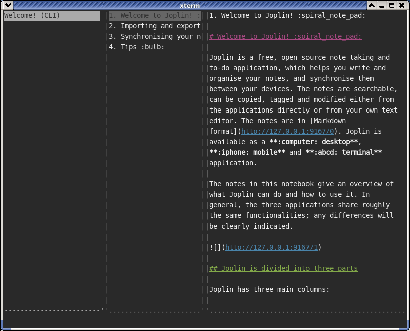Using Joplin (Terminal and Desktop) and Web Clipper on